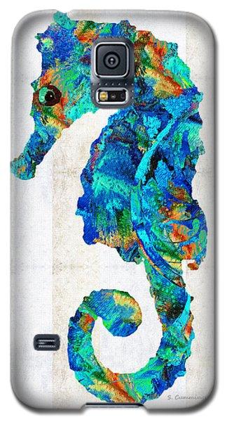 Blue Seahorse Art By Sharon Cummings Galaxy S5 Case by Sharon Cummings