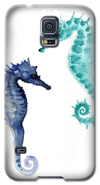 Blue Seahorses Watercolor Painting Galaxy S5 Case