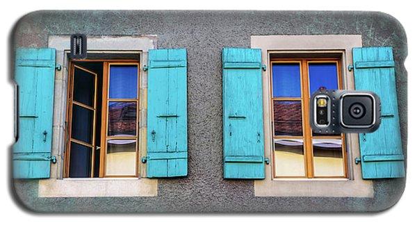 Blue Shuttered Windows In Carouge Geneva  Galaxy S5 Case