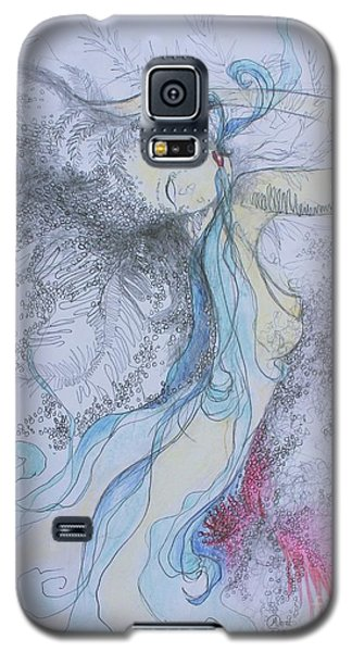 Galaxy S5 Case featuring the drawing Blue Smoke And Mirrors by Marat Essex
