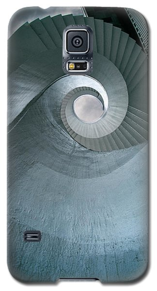 Galaxy S5 Case featuring the photograph Blue Spiral Stairs by Jaroslaw Blaminsky