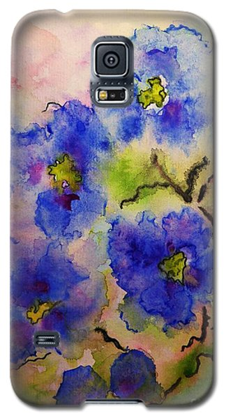 Blue Spring Flowers Watercolor Galaxy S5 Case by AmaS Art