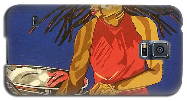 Galaxy S5 Case featuring the painting Blue Steel by Rachel Natalie Rawlins