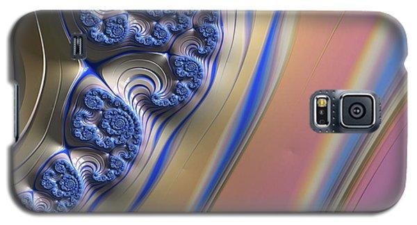 Galaxy S5 Case featuring the digital art Blue Swirly Fractal 2 by Bonnie Bruno