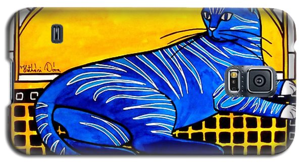 Galaxy S5 Case featuring the painting Blue Tabby - Cat Art By Dora Hathazi Mendes by Dora Hathazi Mendes