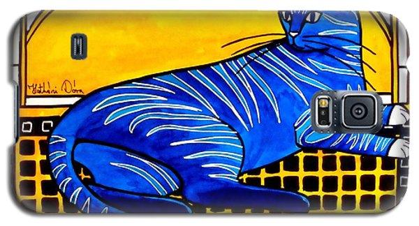 Blue Tabby - Cat Art By Dora Hathazi Mendes Galaxy S5 Case by Dora Hathazi Mendes