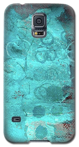 Galaxy S5 Case featuring the painting Blue Textures by Nancy Merkle