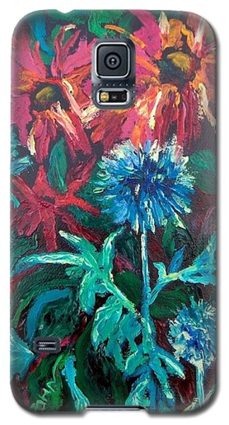 Galaxy S5 Case featuring the painting Blue Thistle And Bee Balm by Susan  Spohn
