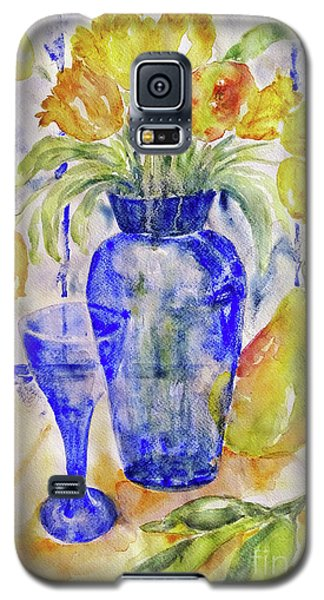 Galaxy S5 Case featuring the painting Blue Vase by Jasna Dragun