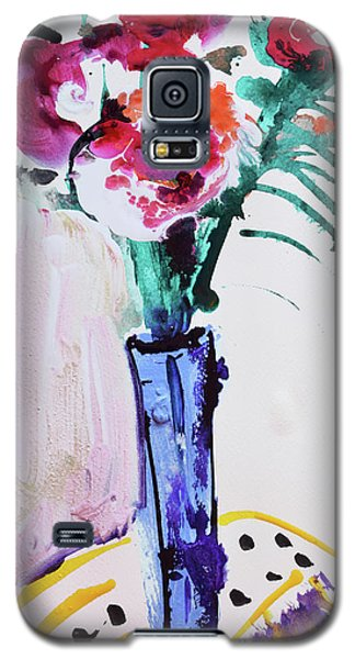 Blue Vase With Red Wild Flowers Galaxy S5 Case