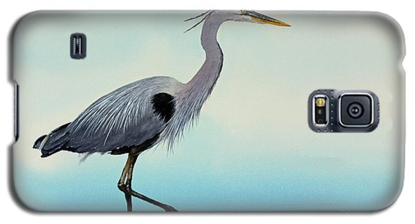 Galaxy S5 Case featuring the painting Blue Water Heron by James Williamson