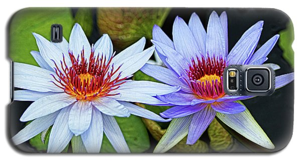 Galaxy S5 Case featuring the photograph Blue Water Lilies by Judy Vincent