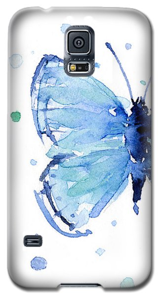 Blue Watercolor Butterfly Galaxy S5 Case by Olga Shvartsur