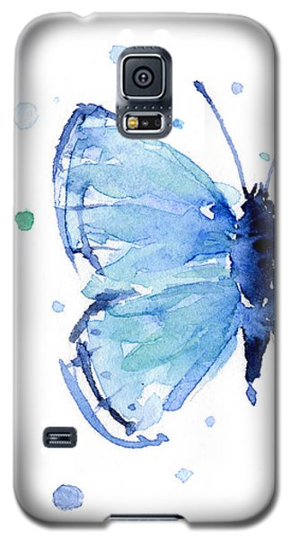 Butterfly Galaxy S5 Case - Blue Watercolor Butterfly by Olga Shvartsur