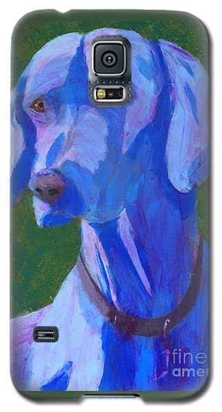 Galaxy S5 Case featuring the painting Blue Weimaraner by Donald J Ryker III