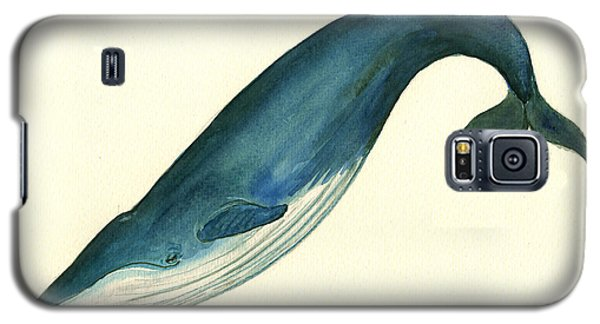 Blue Whale Painting Galaxy S5 Case by Juan  Bosco
