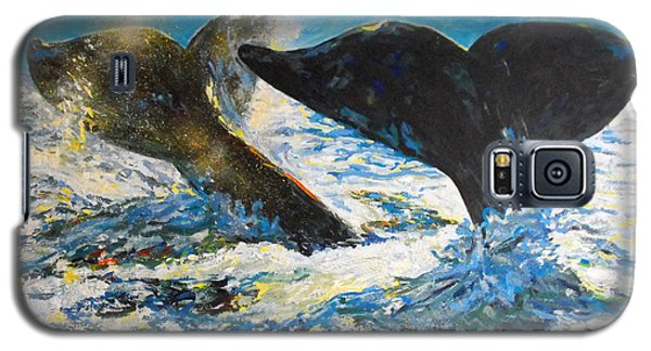Galaxy S5 Case featuring the painting Blue Whales by Koro Arandia