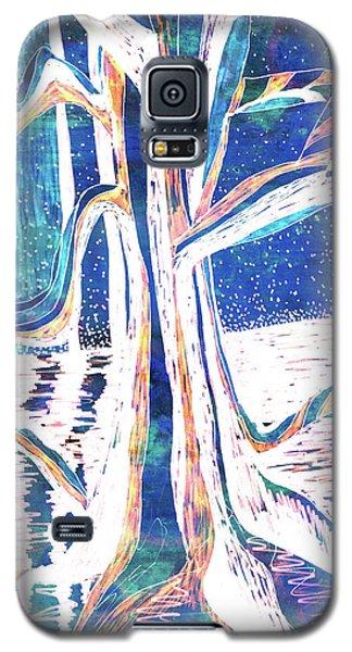 Blue-white Full Moon River Tree Galaxy S5 Case