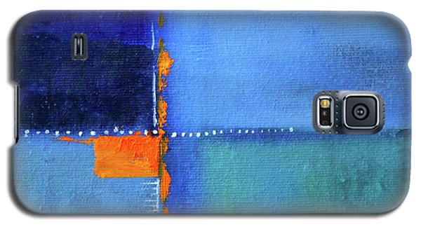Galaxy S5 Case featuring the painting Blue Window Abstract by Nancy Merkle