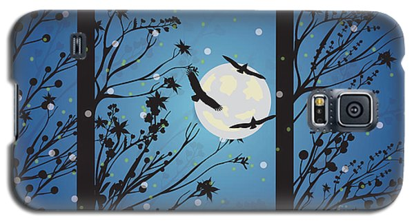 Galaxy S5 Case featuring the digital art Blue Winter Moon by Kim Prowse