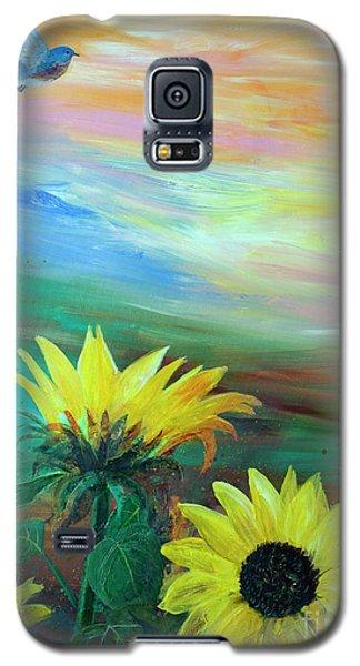 Bluebird Flying Over Sunflowers Galaxy S5 Case