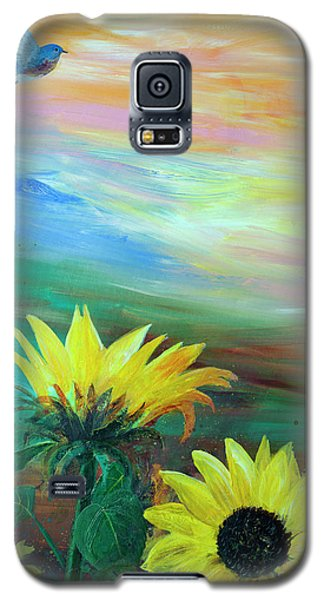Bluebird Flying Over Sunflowers Galaxy S5 Case by Robin Maria Pedrero