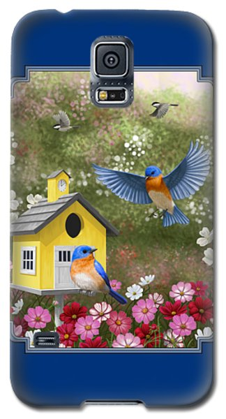 Bluebirds And Yellow Birdhouse Galaxy S5 Case by Crista Forest
