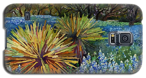 Galaxy S5 Case featuring the painting Bluebonnets And Yucca by Hailey E Herrera