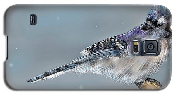 Galaxy S5 Case featuring the digital art Winter Bluejay by Darren Cannell