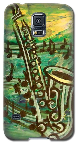 Galaxy S5 Case featuring the digital art Blues Solo In Green by Evie Cook