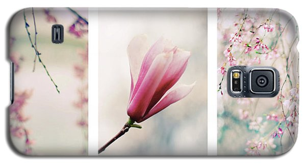 Galaxy S5 Case featuring the photograph Blush Blossom Triptych by Jessica Jenney