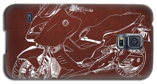 Sport Art Galaxy S5 Case - Bmw C600 Sport 2013 Blueprint Red And White Art Print by Drawspots Illustrations