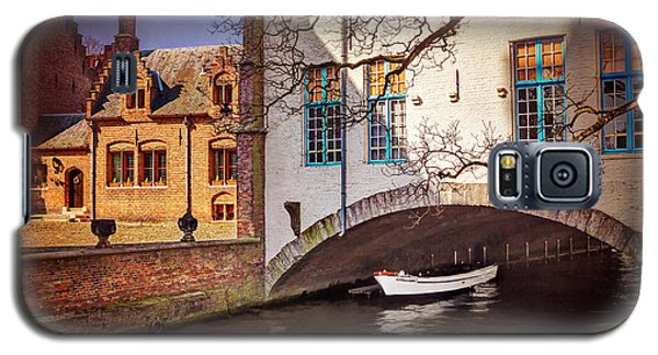 Galaxy S5 Case featuring the photograph Boat Under A Little Bridge In Bruges  by Carol Japp