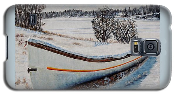 Galaxy S5 Case featuring the painting Boat Under Snow by Marilyn  McNish