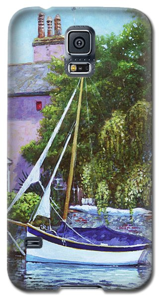 Galaxy S5 Case featuring the painting Boat With Pink House On River by Martin Davey