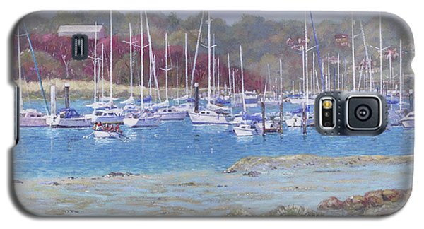Galaxy S5 Case featuring the painting Boats At Hamble Marina by Martin Davey