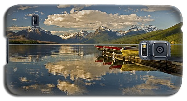 Galaxy S5 Case featuring the photograph Boats At Lake Mcdonald by Gary Lengyel