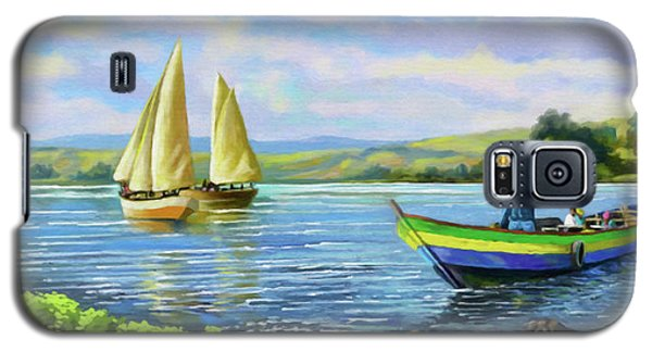 Galaxy S5 Case featuring the painting Boats At Lake Victoria by Anthony Mwangi