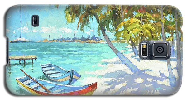 Galaxy S5 Case featuring the painting Boats  by Dmitry Spiros