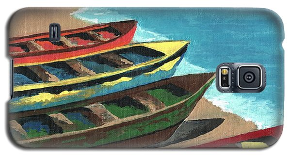 Galaxy S5 Case featuring the painting Boats In A Row by Kathleen Sartoris