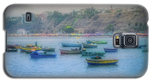 Galaxy S5 Case featuring the photograph Boats In Blue Twilight - Lima, Peru by Mary Machare