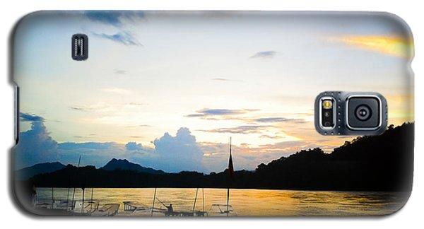 Boats In The Mekong River, Luang Prabang At Sunset Galaxy S5 Case