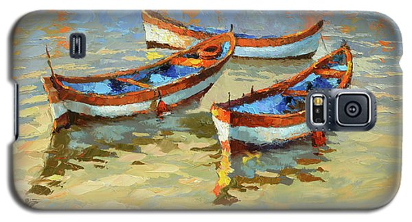 Galaxy S5 Case featuring the painting Boats In The Sunset by Dmitry Spiros