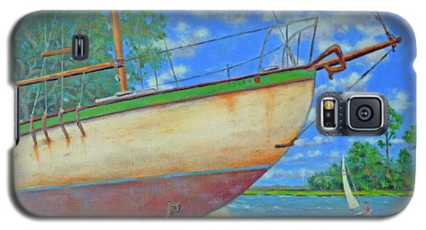 Galaxy S5 Case featuring the painting Boatyard On Shem Creek by Dwain Ray