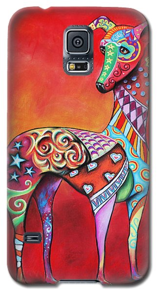 Galaxy S5 Case featuring the mixed media Italian Greyhound  by Patricia Lintner
