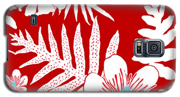 Bold Fern Floral - Red Galaxy S5 Case