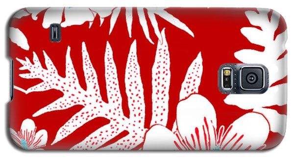 Bold Fern Floral - Red Galaxy S5 Case