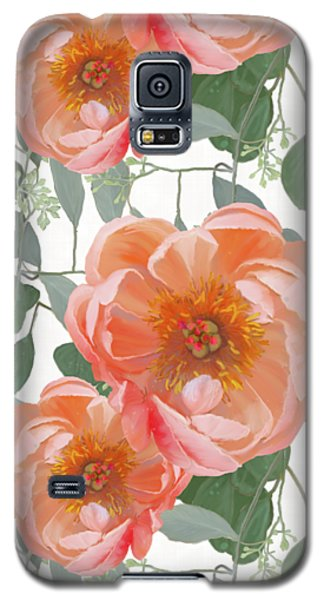 Bold Peony Seeded Eucalyptus Leaves Repeat Pattern Galaxy S5 Case by Audrey Jeanne Roberts