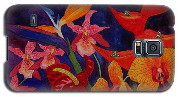 Galaxy S5 Case featuring the painting Bold Tropical Flowers by Kerri Ligatich