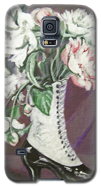 Galaxy S5 Case featuring the painting Booted Peonies by Laura Aceto